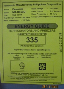 energy efficiency factor fro refs nd freezers